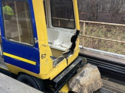 Damaged PRT car -MPD photo